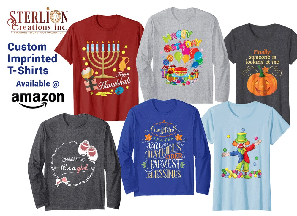 Custom Designed T-Shirts by the Sterlion Team On Amazon.com